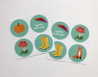 Autumn stickers, illustrations rain boots, pumpkin, fox, umbrella, mushroom, gift idea