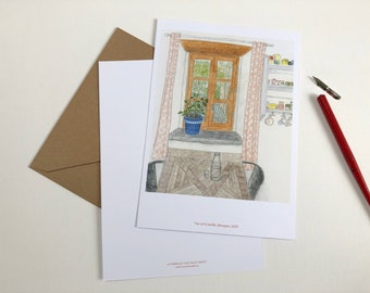 Printing illustration country house, format 210 x 148 cm, colored pencils, souvenir of Brittany, birthday gift