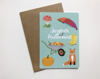 Autumn postcard with illustration rain boots and pumpkin as gift idea or for sweet words