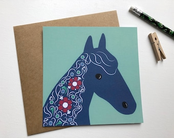 Horse map, horse illustration, folk motifs, horse portrait, horse love, horse with floral decorations