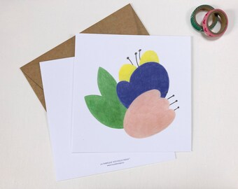Floral card, flower card, card to offer, illustration flowers, birthday card, master card, end of school year card