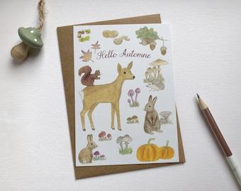 Hello Autumn card, illustration forest animals, autumn illustration, autumn drawing, welcome autumn, autumn festival