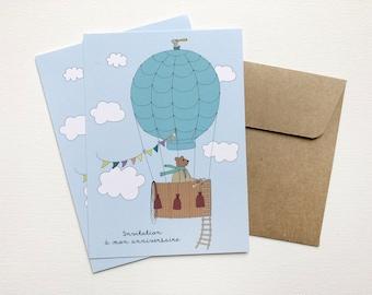 Birthday birthday card hot air balloon, invitation, invitation taste, birthday snack, boy, party