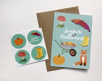 Autumn postcard, greeting card, postcard, map, autumn, illustration, pleasure to offer, little word, birthday, message