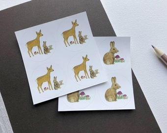 New: round labels of forest animals, round stickers, sticker boards with a deer, a rabbit and mushrooms