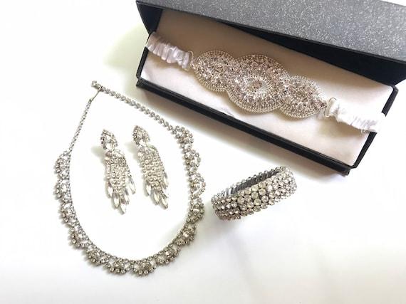 Vintage Wedding Jewelry Set,Rhinestone wedding set