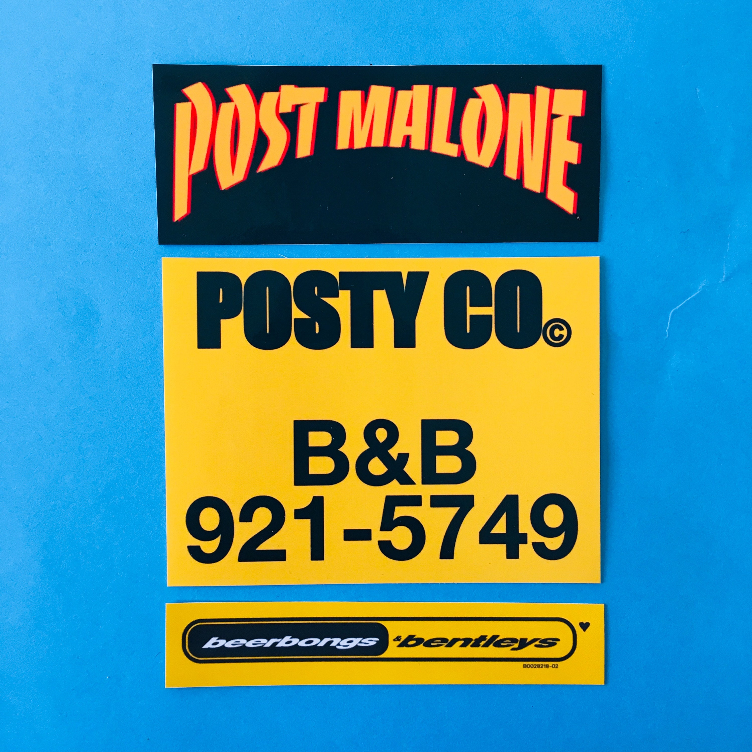 Post Malone Sticker Pack (3 Stickers) beerbongs & bentleys, thrasher logo,  posty and co