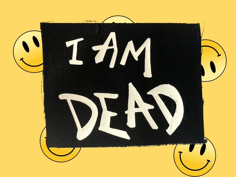 Punk  Emo Suicide Boys style Sew on Patch Y2K I AM DEAD SUICIDEBOYS style On Patch Printed Cotton