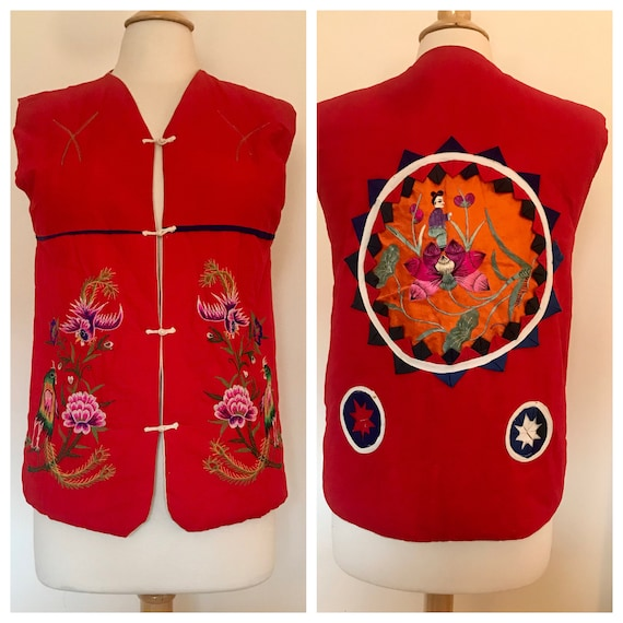 Vintage 1970s Unisex Asian Embroidered Vest