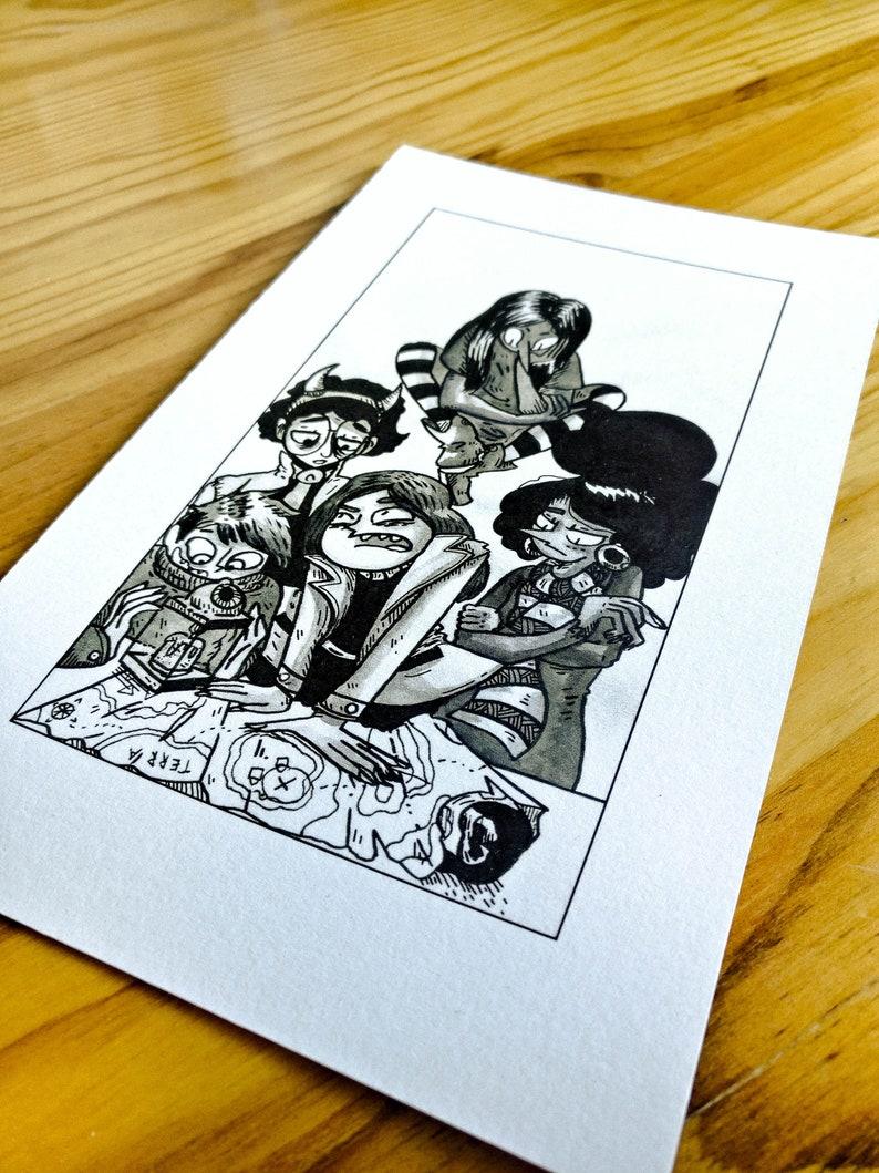 The gang of kids Inktober 2018 art print illustration 13 x 21cm