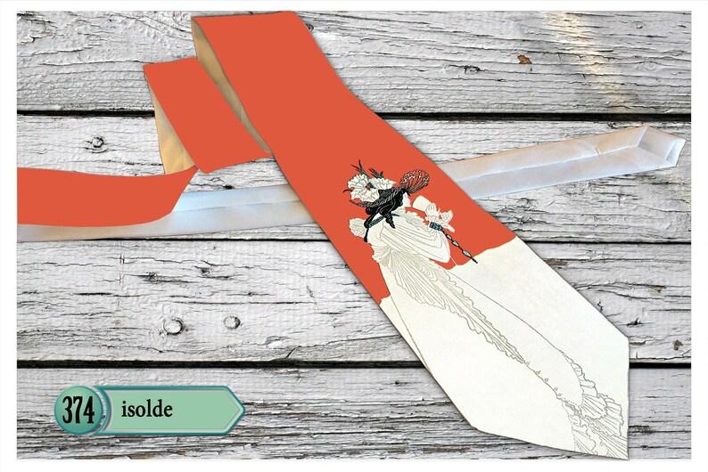 Fashion Printed necktie, Isolde by Aubrey Beardsley Necktie illustration in Pan magazine 1899