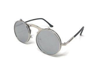 8259cc6f78 Silver with Silver Mirrored Lenses Flip up Circle Steampunk Sunglasses  Glasses Retro Cyber Vintage Victorian Gothic UV400 Unisex