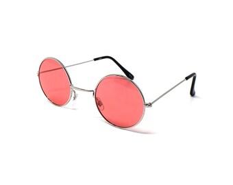 64a81a89b70f75 Cadre en argent verres rouges petits adultes Retro lunettes de soleil  rondes Style John Lennon lunettes de soleil au Look Vintage qualité UV400  lunettes ...