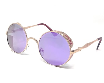 d9d57fd073 Gold Frame with Purple Lenses Steampunk Sunglasses 50s Round Glasses with  UV400 Copper Retro Metal Cyber Goggles Rave Goth Victorian