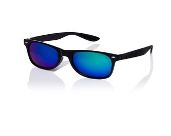 7b2be43c1202f1 Les adultes forme classique noir encadré bleu lentilles Flip Style lunettes  de soleil unisexe rétro UV400 lunettes de soleil grand Style rétro  classique ...