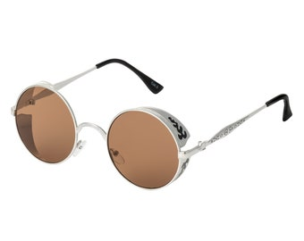 9223dd24d526 Silver with Black Engraving Steampunk Sunglasses Goggles Retro Men Womens  Gothic Style Circle UV400 Glasses Eyewear