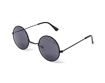 5d87475253ded2 Adultes noirs rétro rondes lunettes de soleil Style John Lennon lunettes de  soleil au Look Vintage qualité UV400 lunettes Unisex classique