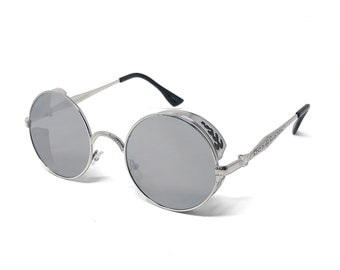 Silver with Black Engraving Steampunk Sunglasses Goggles Retro Men Womens  Gothic Style Circle UV400 Glasses Eyewear bbee63bf215