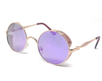 429214384d4 Gold Frame with Purple Lenses Steampunk Sunglasses 50s Round Glasses with  UV400 Copper Retro Metal Cyber Goggles Rave Goth Victorian