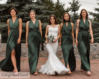 Green Infinity Bridesmaid Dress • Luxury Silk Long Multiway Prom Wrap Dress • Sexy Satin Plus Size Transformer • Unique Gift Idea for Her