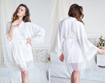 Ivory White Bridal Satin Robe • Ladies Lounger   Sleepwear • Sexy Women s  Lingerie • Luxurious Silk Lace Wedding Dressing Gown for Brides c21611fb9