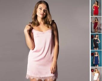 Pink Short Satin Chemise • Erotic Ladies Lounger   Sleepwear • Women s  Lingerie • Silk Lace Nighty • Ladies Sexy Night Dresses 9d695005b