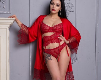 1d5f3f178c Red Satin Lace Lingerie Set • Birthday gift idea