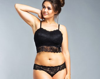 15593ec895d99 Black Plus Size Lace Bralette Lingerie • Erotic Lingerie Sexy Women s Soft  Cup Underwear • Comfortable Supportive Padded Wireless Bra