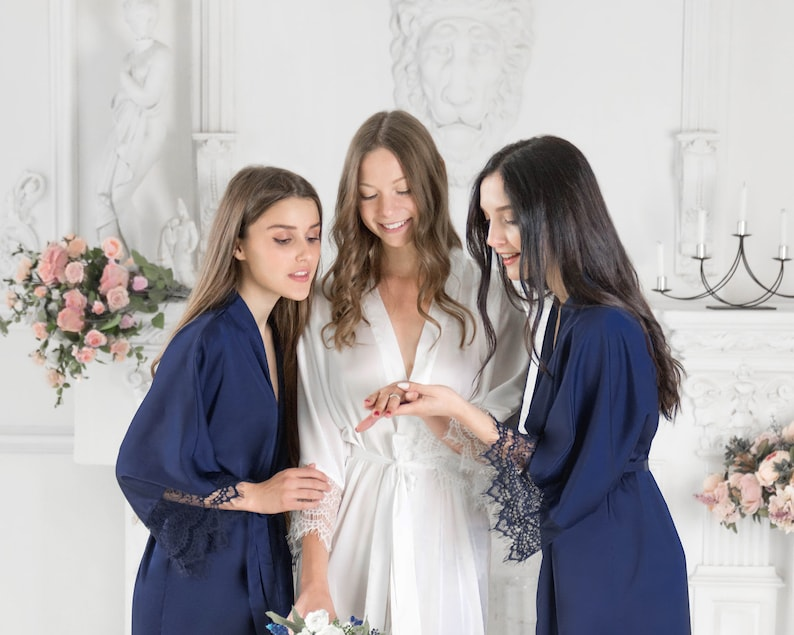 Personalized Bridesmaid Robes Set of 2 for Wedding \u2022 Nude soft satin dressing gown \u2022 Monogrammed initial bridal lace shower party gift