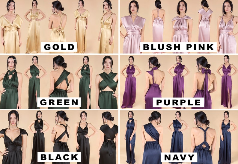 Silk Long Gold Dress \u2022 Christmas Gift for Her \u2022 Multiway Convertible Formal Bridesmaid Dress \u2022 Maxi Cocktail Infinity Wrap Prom Gown