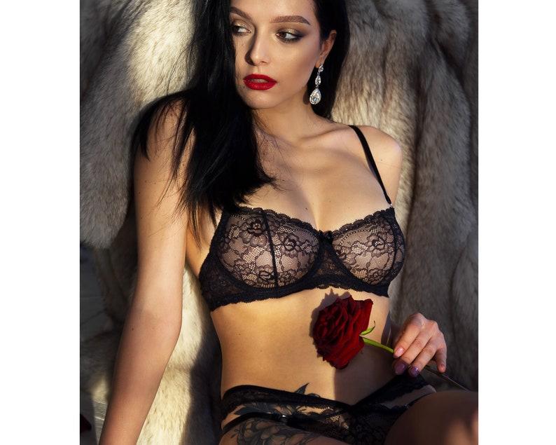 01b44907cf39 Black Unlined Lace Bra Lingerie Set Erotic Ladies Sexy | Etsy