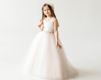 8fc6ca7f650d Blush Pink Tulle Flower Girl Dress, Communion dress, Lace Flower Girl Dress  , Birthday Girl Dress, Tutu Flower Dress