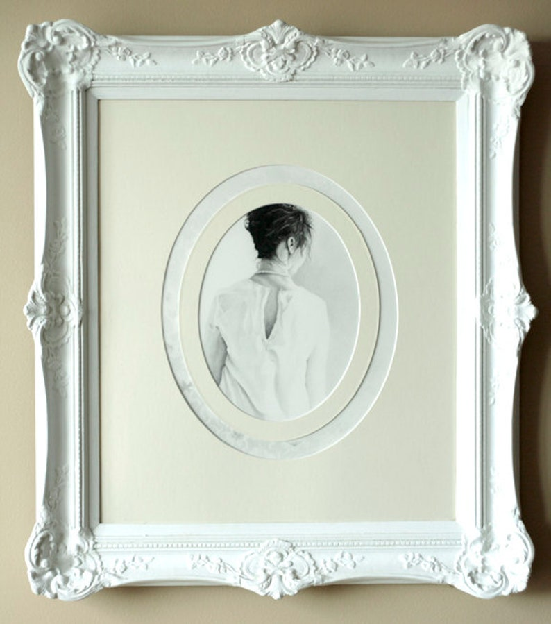 Framed Art Large Framed Drawing Statement Piece Artwork Women Graphite Drawing Wall Art Female Artist Vintage Framed Original Drawing