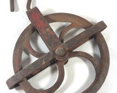 Vintage Durbin - Durco Iron Pulley Red Rusty Iron