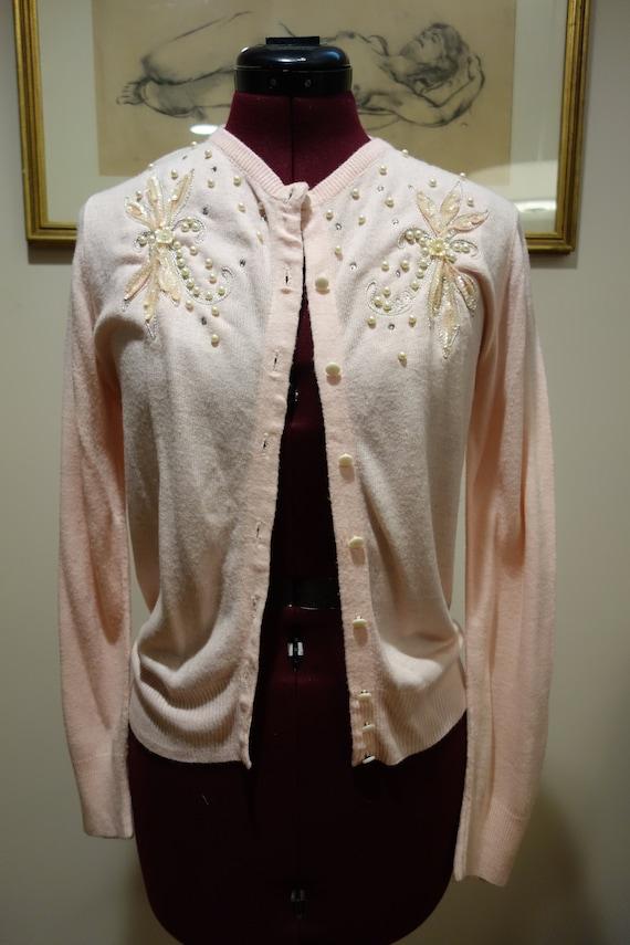 1950s Pink Beaded Cardigan