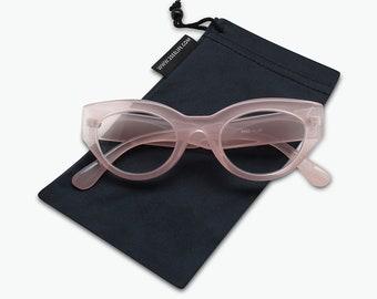 7d295068e60d8 Retro Women s Reading Glasses - Trendy Oval Cateye Magnifying Lenses -  Black Pink Olive Tortoise Vintage Frames