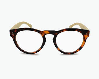 b5f61f65aa Round Framed Reading Glasses for Women and Men Geoffrey Beene Woodlike  Temples Vintage Glasses Frame
