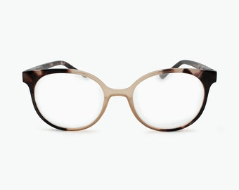 aebf9410d6cb Bold Round Cat Eye Reading Glasses for Women Dual Tone Colorful Eyeglass  Frame with Non Prescription Readers Lenses