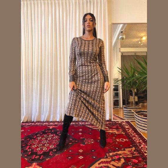 Metallic maxi dress, vintage Holt renfrew dress