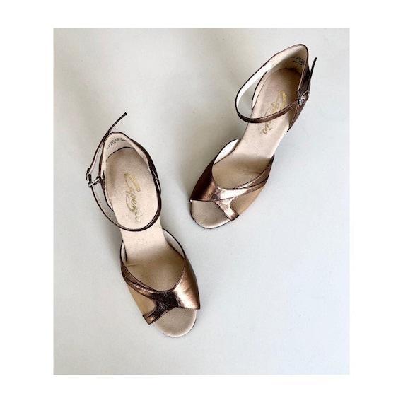 Metallic open toe dance shoes