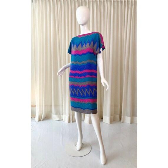 80s vintage silk shift dress- Flora Kung
