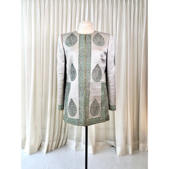 Mary McFadden silk quilted coat