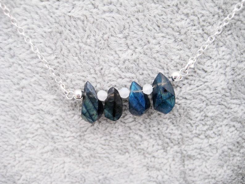 Blue Flash Drops Labradorite Labradorite necklace Minimalist Gem Moonstone 925 Silver dainty