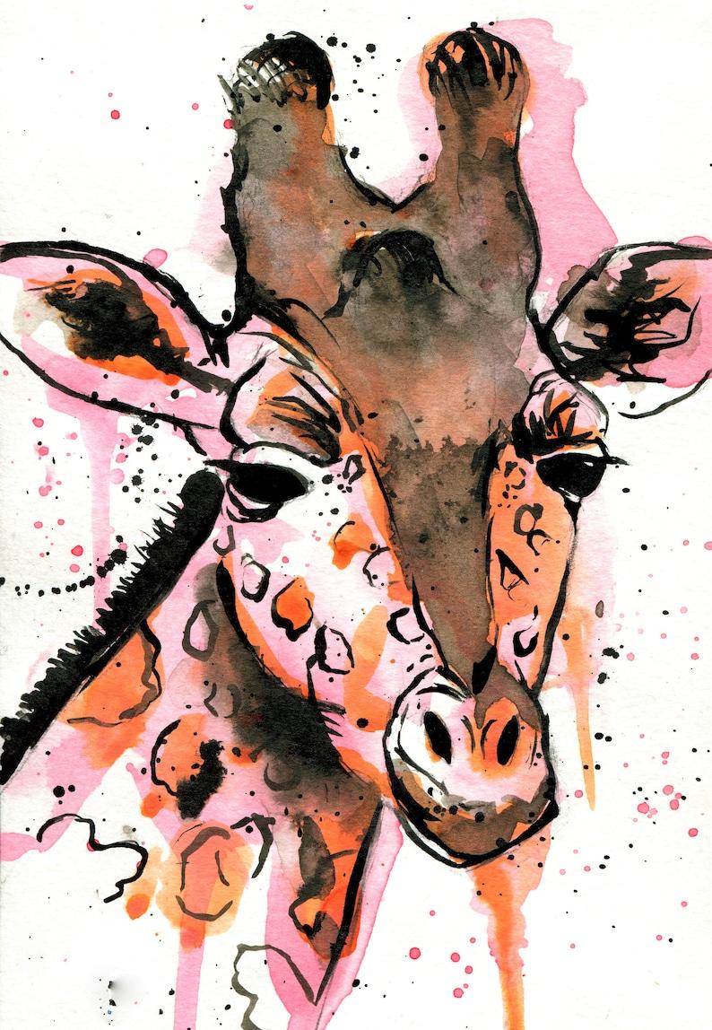 Art Print Expressive Painting Ink Animal Portrait Giraffe Illustration