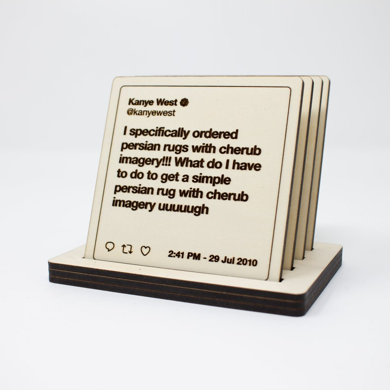 Kanye West Wooden Coaster Set  Drink Coasters  Laser image 0