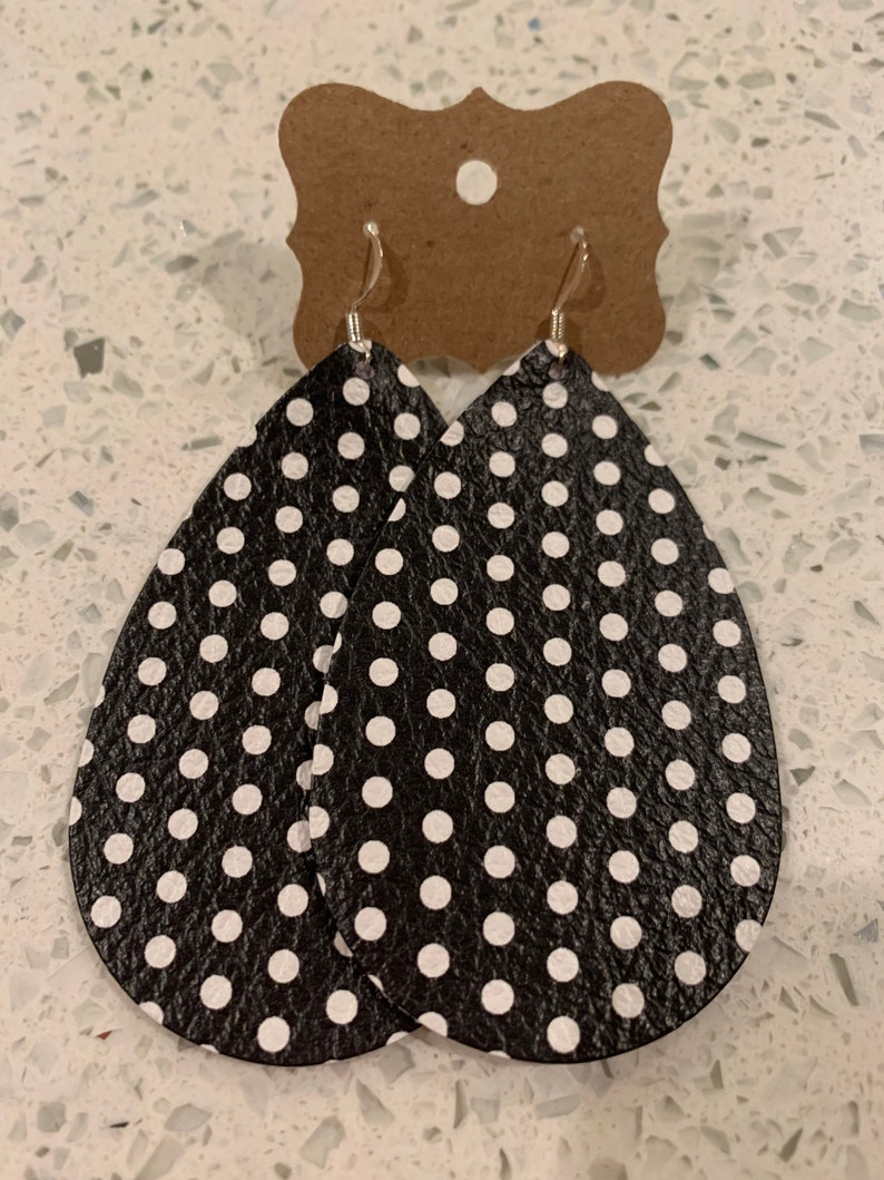 Black and white polka dot leather teardrop earrings