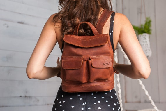 Cognac handcrafted leather backpack for everyday,Mini backpack,Small backpack,Beautiful women leather backpack with 2 front pockets,Backpack