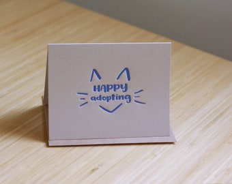 Happy (cat) adopting letterpress greeting card, kitten adoption card, cat rescue card