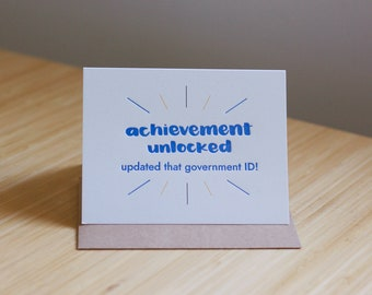 Achievement unlocked: updated that government ID letterpress greeting card