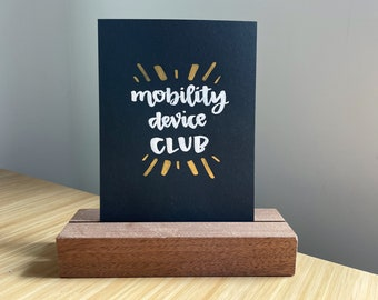 Mobility device club 5x7 unframed tiny print and disability lettering watercolor original